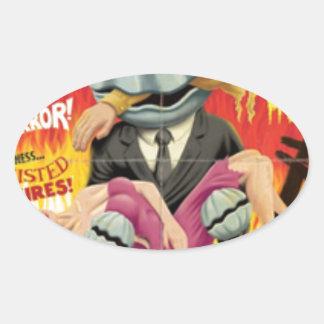 Man Clam Oval Sticker