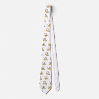 Man cleaning fat cats rear end neck tie