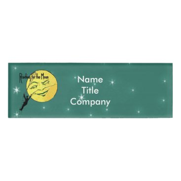 Professional Business Man Climbing to Winking Yellow Moon Shining Stars Name Tag