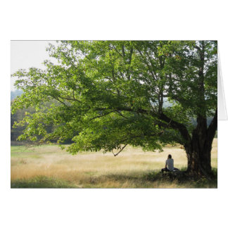Man contemplating under a tree card