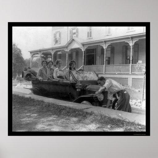 Man Cranking His Car by Mount Arlington Hotel 1914 Poster