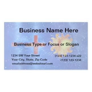 man cross sun blue spraypaint business card