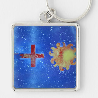 man cross sun blue spraypaint Silver-Colored square keychain