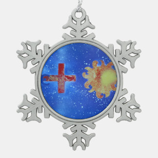 man cross sun blue spraypaint snowflake pewter christmas ornament