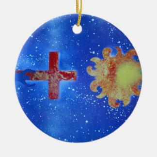 man cross sun blue spraypaint Double-Sided ceramic round christmas ornament