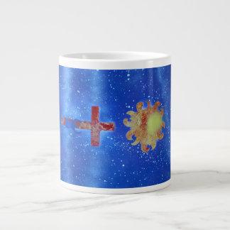 man cross sun blue spraypaint jumbo mugs
