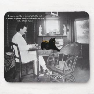 Man crossed with cat? - Mark Twain Mouse Pad