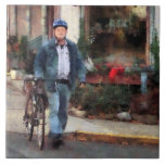 Man Crossing Street With Bicycle Ceramic Tile