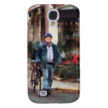 Man Crossing Street With Bicycle Galaxy S4 Cover