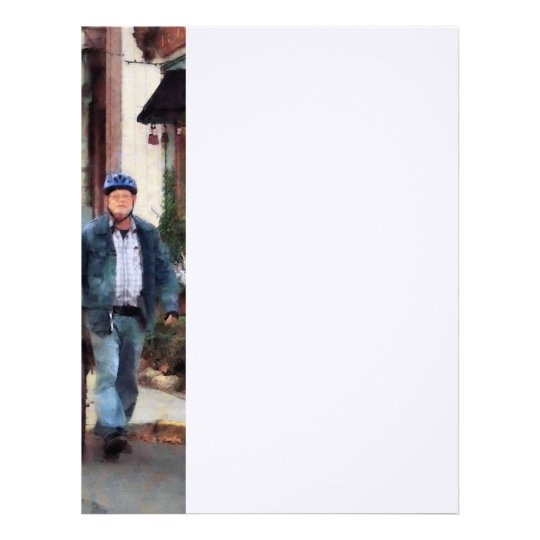 Man Crossing Street With Bicycle Letterhead