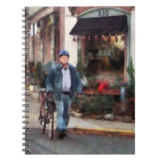 Man Crossing Street With Bicycle Notebook
