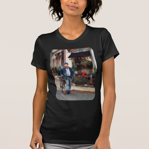 Man Crossing Street With Bicycle T Shirt