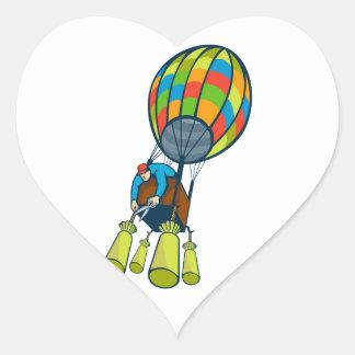Man Cutting Ballast Hot Air Balloon Heart Sticker