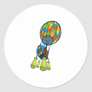Man Cutting Ballast Hot Air Balloon Classic Round Sticker