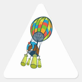 Man Cutting Ballast Hot Air Balloon Triangle Sticker