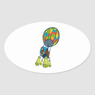 Man Cutting Ballast Hot Air Balloon Oval Sticker