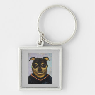 Man Dog Joe Silver-Colored Square Keychain