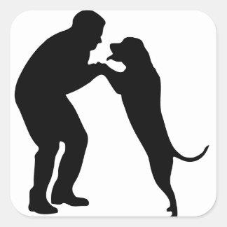 Man-Dog_Sillouette.pdf Square Sticker