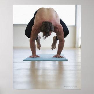 Man doing workout on yoga mat poster