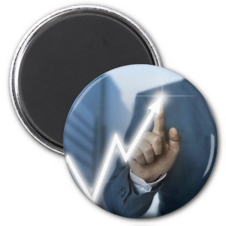 Man draws stock price touchscreen concept 2 inch round magnet