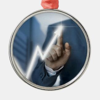 Man draws stock price touchscreen concept metal ornament
