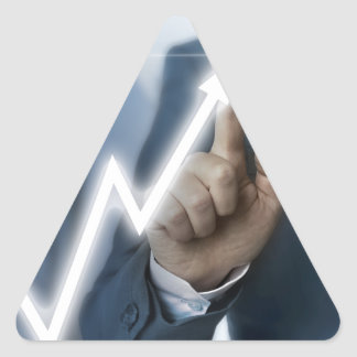 Man draws stock price touchscreen concept triangle sticker