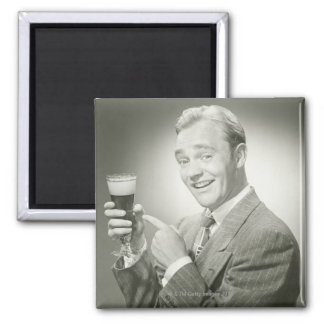 Man Drinking 2 Inch Square Magnet