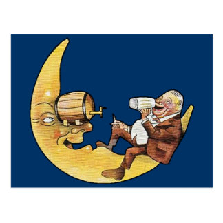 Man Drinking Beer with Moon Postcard