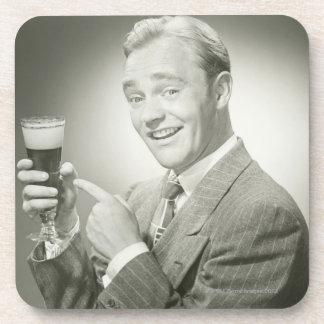 Man Drinking Beverage Coaster