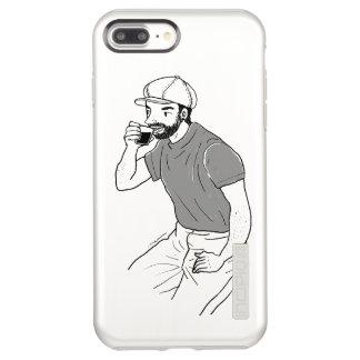 Man drinking coffee at a coffee shop incipio DualPro shine iPhone 8 plus/7 plus case