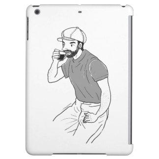 Man drinking coffee at a coffee shop iPad air case