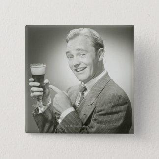 Man Drinking Pinback Button