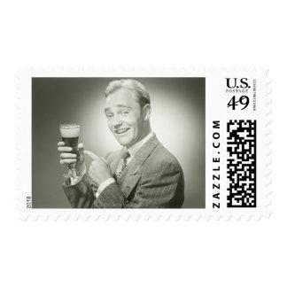 Man Drinking Stamps
