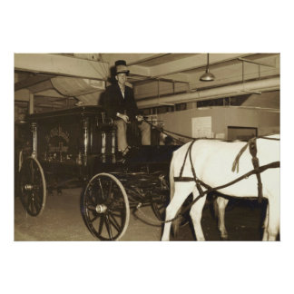 """Man Driving A Hearse Wagon Pulled By Horse"""" Poster"""
