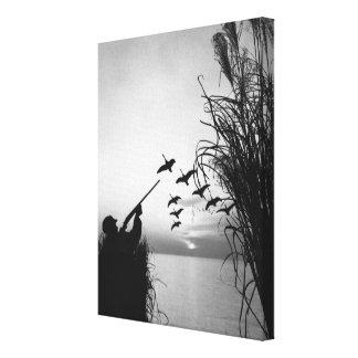 Man Duck Hunting Canvas Print