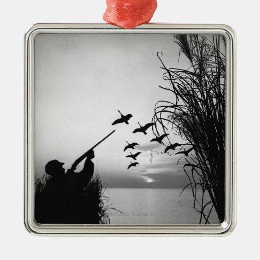 Man Duck Hunting Square Metal Christmas Ornament