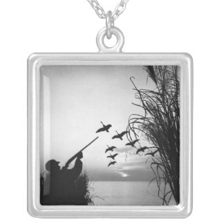 Man Duck Hunting Square Pendant Necklace