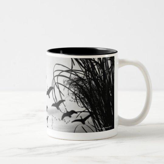 Man Duck Hunting Two-Tone Coffee Mug