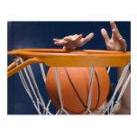 Man dunking basketball postcard