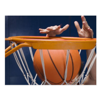 Man dunking basketball postcard
