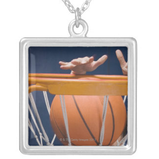 Man dunking basketball silver plated necklace