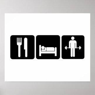 Man Eat Sleep Lift Weights Poster
