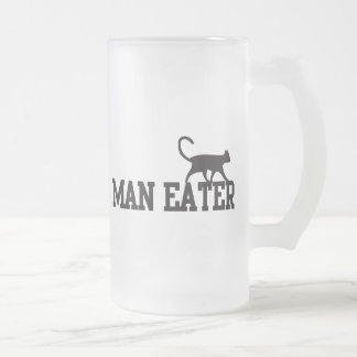 Man eater frosted glass beer mug