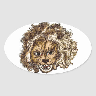 MAN-EATING LION OVAL STICKER