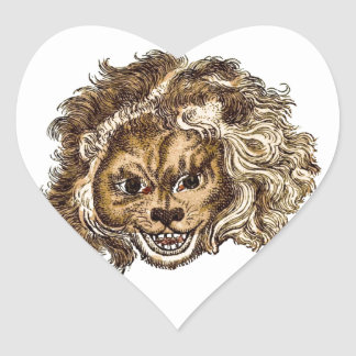 MAN-EATING LION HEART STICKERS