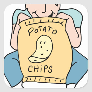 Man eating potato chips square sticker