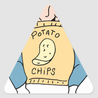 Man eating potato chips triangle sticker