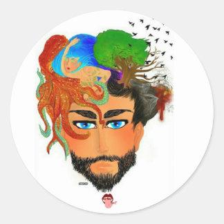 man emotions classic round sticker