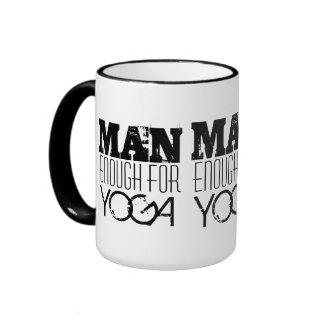 MAN ENOUGH FOR YOGA-Text Ringer Coffee Mug
