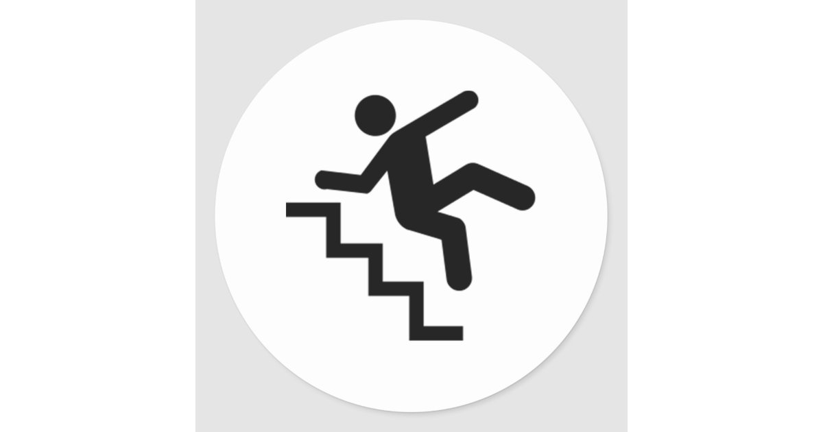 Man Falling Down The Stairs Classic Round Sticker